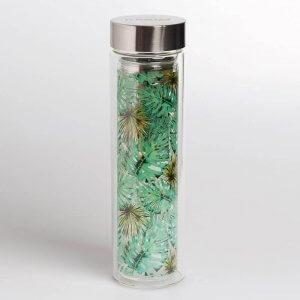 """Der Teebereiter mit dem Motiv """"Jungle"""" besteht aus einer doppelwandigen Glasflasche mit Drehverschluss und fasst ca. 350-400ml."""
