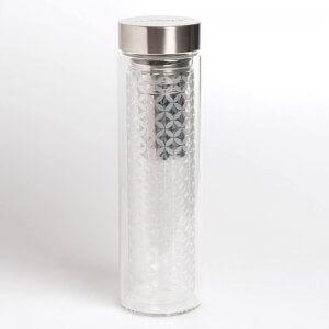 """Der Teebereiter mit dem Motiv """"May Lin"""" besteht aus einer doppelwandigen Glasflasche mit Drehverschluss und fasst ca. 350-400ml"""