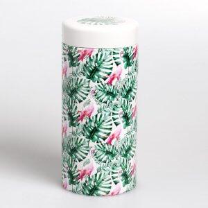 Die Teedose RoundTIN mit dem Motiv Jungle Flamingo sprüht voller Lebensfreude.